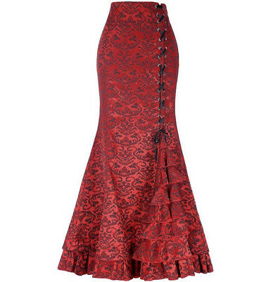 New Women Sexy Vintage Gothic Victorian Fishtail Skirt Steampunk Red Sz XL 16