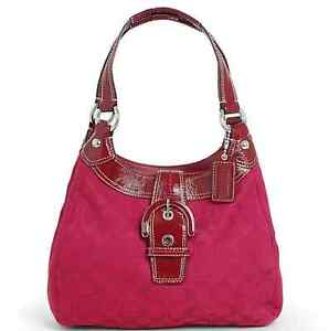 NEW COACH SOHO RED CRIMSON SIGNATURE HOBO BAG SHOULDER PURSE HANDBAG