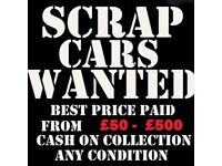 scrap cars wanted today for cash