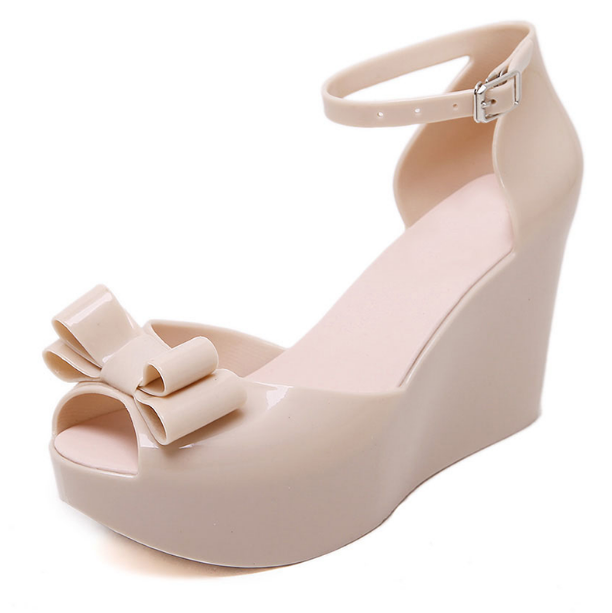 ly01 Ladies Melissa Tops Bow Women/'s Wedge Platform Buckle jelly High Sandals Sh