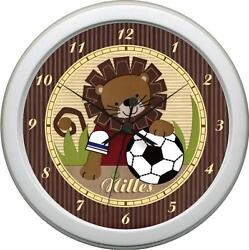 Personalized Safari Soccer Lion Boys Bedding Nursery Decore Wall Clock