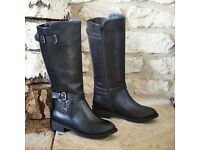 LADIES BLACK FASHION RIDING BOOTS SIZE 6 BRAND NEW