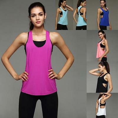 Women Sexy Workout Tank Top T-shirt Gym Clothes Fitness Yoga Training Run Vest