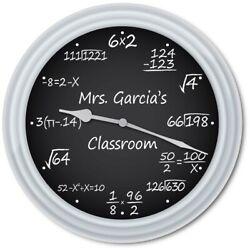 Personalized Math Equation Teacher WALL CLOCK Chalkboard Classroom Office - GIFT