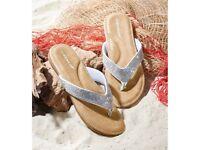Dunlop Silver Toe Post Sandals