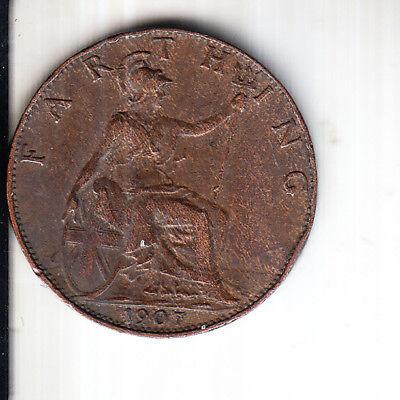 1907 KING EDWARD VII BRITISH FARTHING COIN t3