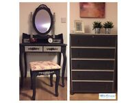 Beautiful fully refurbished bedroom set- chest of drawers and dressing table