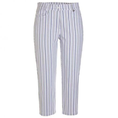 NWT Golfino Ladies Striped Stretch Capri Slim Fit 8262022 100 White Sz 6 8 10
