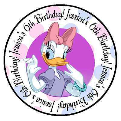 DAISY DUCK BIRTHDAY PERSONALIZED ROUND PARTY STICKERS FAVORS ~ VARIOUS SIZES - Daisy Duck Birthday