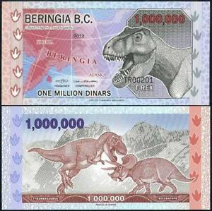 2 BANKNOTES BIRINGIA B.C. ONE MILLION DINARS 2012 UNC.