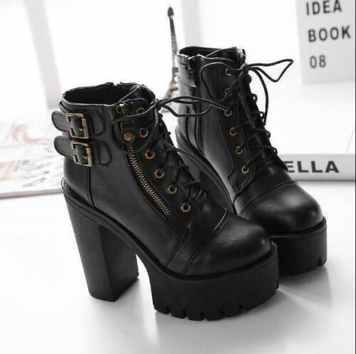 Details about  /Women Punk Block High Heel Buckle Platform Strap Round Toe Ankle Boots Gothic D