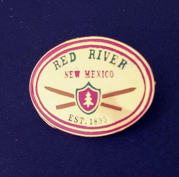 RED RIVER SKI AREA Ski pin.  GREAT SHAPE.  1 INCH WIDE