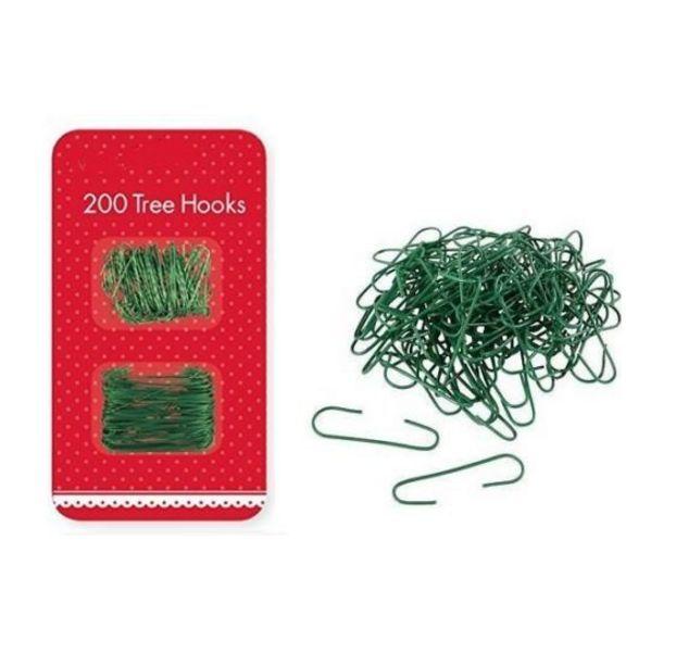200 x Christmas Tree Decoration Green Wire Hooks