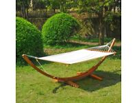 Hardwood frame and double hammock bed - cream