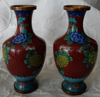 Antique Asian Cloisonné Vases, Rusty Red Floral Older Matched Marked Vases