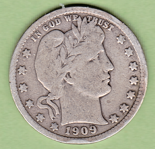 1909 D BARBER QUARTER In VERY GOOD condition Stk Art104 FULL RIMS ON BOTH SIDES - $10.99