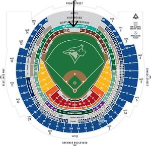 2 TORONTO BLUE JAY TICKETS FOR TUESDAY'S GAME WEST JET DECK