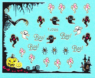 Nail Art 3D Decal Stickers Halloween Ghost Pumpkin Haunted House Boo Scary TJ205