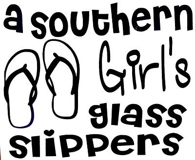 Southern Girl's Glass Slippers Flip Flop Car Window Vinyl Decal Sticker 12 COLOR