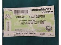 1x 3 Day standard camping creamfields ticket