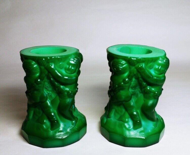 Pair Bohemian Kurt Schlevogt Art Deco Malachite Glass Candle Holders 1930