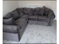 BRAND NEW NICOLE PLUSH VELVET COUCHES COORNER OR 3+2 SEATER SOFA IN STOCK