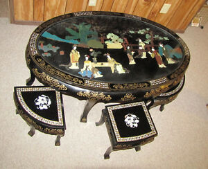 Chinese Tea Table with 6 chairs