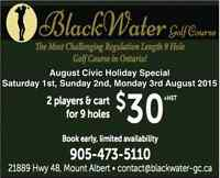 BlackWater Golf  Course - August 1 2015 Weekend Special