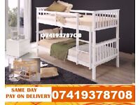 Brand New White Wooden Bunk Bed Available With Mattress