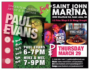 Live Music 6-9 with Paul Evans opening for Mike & Mel. no cover,