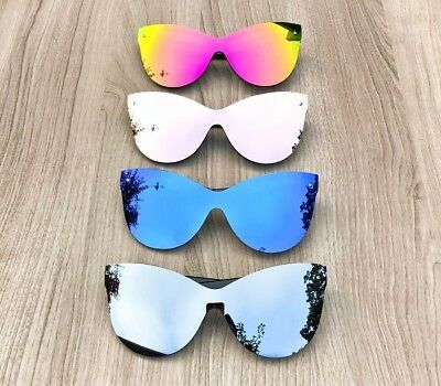 Oversized Large Cat Eye Butterfly Mirrored Shield Aviator HILLS Sunglasses (Mirrored Shield Sunglasses)
