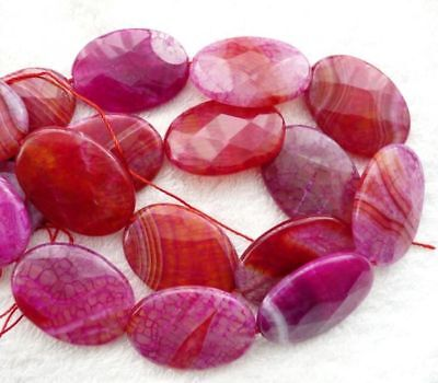 ukcheapest-9beads beautiful druzy pink agate faceted oval 35x25mm gemstone beads