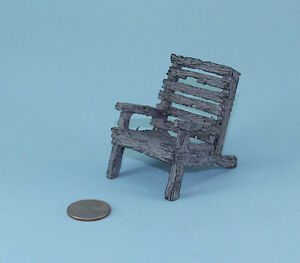 FAIRY GARDEN MINIATURE Resin Faux Weathered Wood Beach/Deck Chair #WFG1102