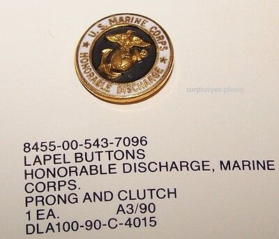 - United States Marine Corps Honorable Discharge Lapel Pin USMC Button Hat w P38