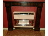 Mahogany Fireplace with Marble