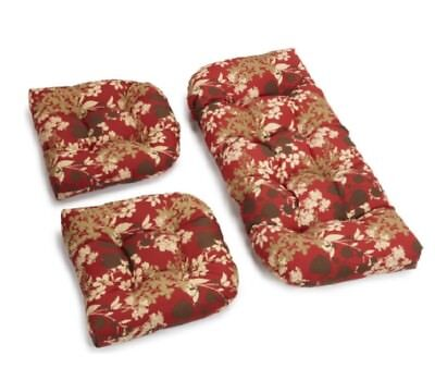 Outdoor All Weather 3pc Wicker Settee Chair CUSHION SET Red Botanical Leaf ()