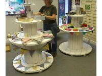 Upcycled wooden cable reel shelving or table
