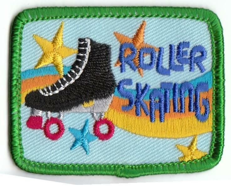 Boy Girl ROLLERSKATING blue Roller Skating Fun Patches Crest Badge GUIDE SCOUT