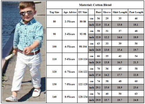 Kids Boys Gentleman Outfits Suit Casual Tops Long Pants Baby Toddler Clothes Set