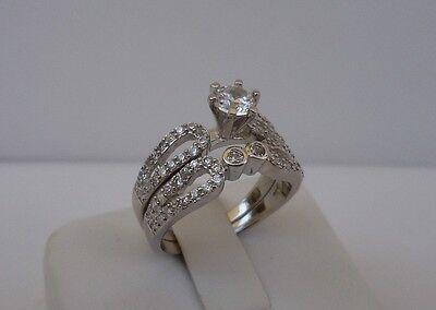 Damen 2 Stück Hochzeit Ring & Ehering Set / Größe 5-9/925 Sterling Silber / 3 Ct (Hochzeit Ring 3 Stück Set)