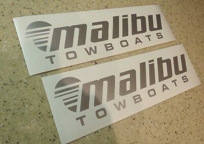 Malibu Vintage Tow Boat Decals 9  Silver 2 Pk Free Ship   Free Fish Decal