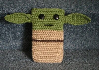 Crocheted Cell Phone Holder (Hand Crocheted Star Wars Yoda Cell Phone iPhone Nintendo 3DS Holder Case Cover )