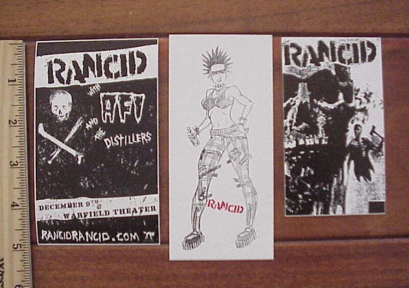 LOT OF 3 RANCID PUNK ROCK MUSIC GROUP VINYL PEEL OFF STICKERS