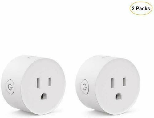 2 Pcs Wifi Smart Plug Switch Compatible With Alexa Echo & Google Home White New