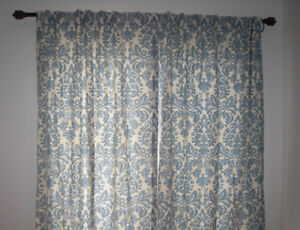 WAVERLY DAMASK CURTAIN PANELS (2)