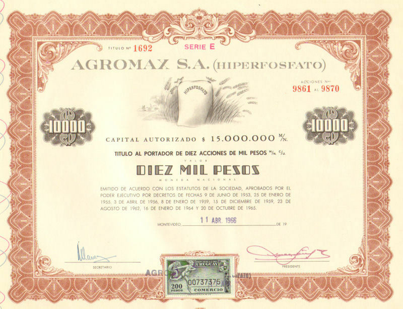 Agromax > 1966 Montevideo Uruguary 10,000 pesos old bond certificate