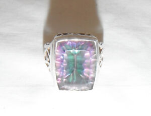 Gorgeous Sterling Silver Massive Mystic Fire Topaz Stone Size 7-