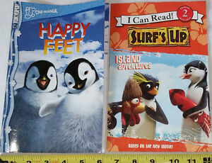 Qty 6 x Toy Penguins and 2 Books - Surf's Up & Happy Feet
