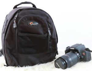 canon T3i + lentille grand zoom 55-250mm + 2 batteries + sac Low