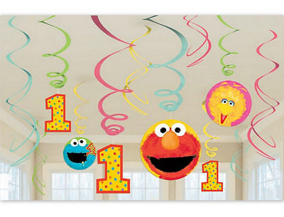 Sesame Street Elmo Big Bird 1st Birthday Swirl Ceiling Decoration Party Supplies